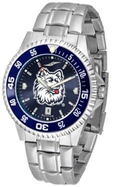 Connecticut Huskies Competitor AnoChrome Men's Watch with Steel Band and Colored Bezel by SunTime. $91.67. Showcase the hottest design in watches today! A functional rotating bezel is color-coordinated to compliment the NCAA Connecticut Huskies logo. A durable, long-lasting combination nylon/leather strap, together with a date calendar, round out this best-selling timepiece.The AnoChrome dial option increases the visual impact of any watch with a stunning radial r...