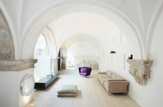 barrel vaulting   ... ancient covered walkway with barrel vaulted ceilings and and arches. Love the white with stone corbels