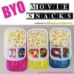 If you need to bring your own (for allergy reasons) or you can't afford the snack bar prices - #easylunchboxes make it easy to bring treats to the movies.