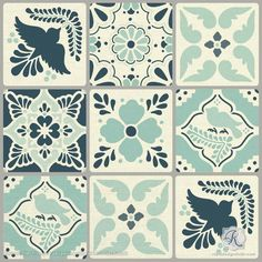 Inspired by typical nature motifs found in traditional Talavera Tiles of Puebla, Mexico, our Talavera Tiles Furniture and Wall Stencils are the perfect size for