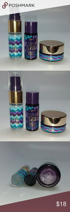 Tarte 3 piece set Tarte skincare travel set includes deep dive cleansing gel marine boosting mist and H20 hydrating serum. All new with box. never used. tarte Makeup