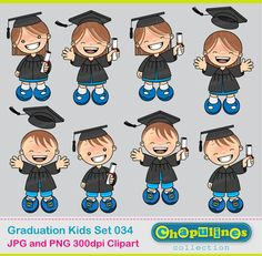 Digital Clipart Graduation Kids 034