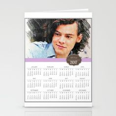 A beautiful 2017 Calendar Card of Harry Styles, singer of boyband One Direction, 1 D, pop music. A perfect present for the Harry Styles, 1D fan in your home! Set of folded stationery cards printed on bright white, smooth card stock to bring your personal artistic style to everyday correspondence.  Each card is blank on the inside and includes a soft white, European fold envelope for mailing.