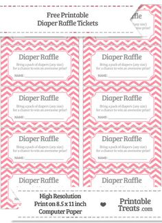 Free Salmon Pink Chevron Diaper Raffle Tickets