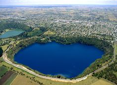 Mount Gambier - South Australia -  The Blue Lake and Valley Lake on far left.