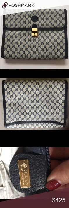 Classic Gucci Clutch briefcase Vintage clutch briefcase given to me as a gift in the late 1980's early 1990's. I treasured it so much I never used it! I'm retired so now I have to reason too. It's 15 inches wide and about 12 inches high, 2 inches deep. Holds my laptop comfortably. This lining has flakes in it, I had the matching bag that I sold and that had the same issues. See pictures.! Gucci Bags