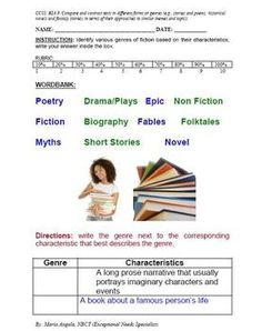 FREEBIE! Short Quiz on Genre- genre quiz