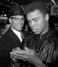 Ali and Nation of Islam leader Malcolm X leave a theater after viewing a screening of a film about Ali's title fight with Sonny Liston.