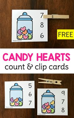 FREE printable Candy Hearts Count & Clip Cards for Valentine's Day in preschool using the numbers 0-10 to practice 1:1 correspondence, counting, number recognition, and fine motor skills! #preschool #hearts #counting
