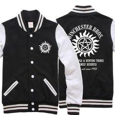 High-Q Unisex Supernatural SAM&DEAN pullover baseball uniform jacket Supernatural Winchester baseball uniform Hoodies  #Affiliate