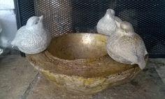 Muotti on tehty kookospähkinän puolikkaasta, Lintumuotti on lähtöisin metallisesta sirottimesta.