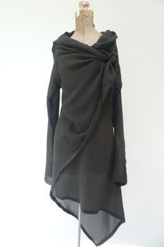MARIA SEVERYNA Black Silk Chiffon Asymmetric Wrap Duster Jacket.