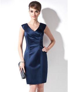 54d7394906c Sheath Column V-neck Knee-Length Satin Mother of the Bride Dress With ·  Robes Mère De ...
