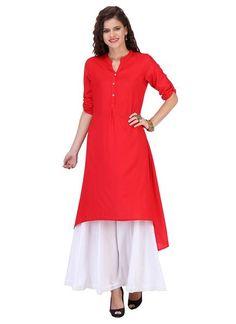 e349c029aa6 Trendy Red   White Casual Wear Plain Pattern Rayon Kurti With Palazzo