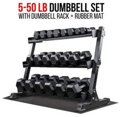 530c5e881b2 lb Rubber Hex Dumbbell Set with Rack and Free Rubber Mat
