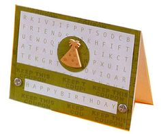 "Use Word-Search Paper to Say ""Happy Birthday""  Design by Julie Medeiros  Julie trimmed a custom-made word-search paper to fit her birthday card front. She made sure the words ""happy birthday"" were centered in the lower portion, then cut a piece of green paper to frame the words. To complete the birthday greeting, Julie attached a party hat button and metal accents."