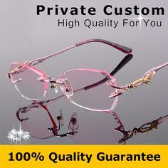 eb69e64d6cd Titanium Eyeglasses Rimless Women Luxury Diamonds Design High Clear Lenses  Myopia Glasses Computer Ladies Reading Glasses