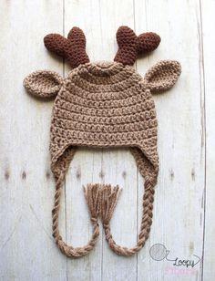 Deer Hat / Baby Winter Hat / Crochet Deer Hat with Antlers /