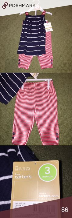 Red, White, and Blue Striped 2-Piece Set Patriotic striped pants with adorable button details and a spaghetti strap top. Perfect for Memorial Day or July 4th Carter's Matching Sets