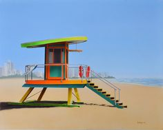 Iconic lifeguard stand on Miami beach.