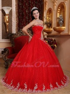 Appliques Red Quinceanera Dress Tulle