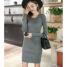 Korea Style Sexy Fashion Slim Long Sleeve Round Collar Hip Package Knit A-line One-step Dress ($7.00) http://www.clubwholesale.net/women/sweaters