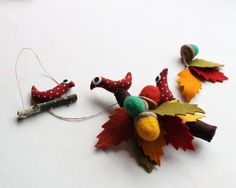Autumn hanging ornament  Leaves birds and acorns  Autumn by Intres, $29.00