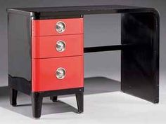 Red and black lacquer steel desk with nickel hardware, Norman Bel Geddes for Simmons, 1935-40