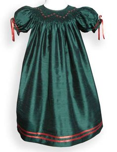 Girls green silk Christmas dress – Carousel Wear