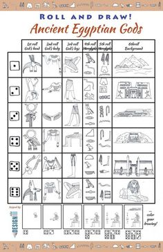 Roll and Draw art game - learning about Ancient Egyptian Gods and Goddesses famous Monuments hieroglyphs the fun way and create a unique drawing! Ancient History for middle school students Egypt for kids Middle School History, History For Kids, Ancient Egypt For Kids, Ancient Egypt Activities, Ancient Egypt Lessons, Ancient Egypt Crafts, Ancient Greek Architecture, Gothic Architecture, History Activities