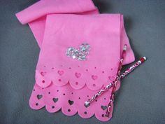 Funny Valentine Pink Fleece Scarf with Die Cut by kitchnstitch, $6.00