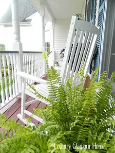 Ferns on the front porch. I just really love the rocking chair on the porch...