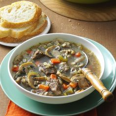 Mushroom Barley Soup Recipe -A few years ago, a friend at work shared the recipe for this wonderful soup. With beef, barley and vegetables, it's hearty enough to be a meal. A big steaming bowl with a slice of crusty bread is so satisfying on a cold day. -Lynn Thomas, London, Ontario
