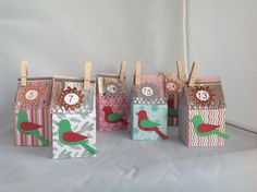 Advent Calendar made by mini milk carton boxes.