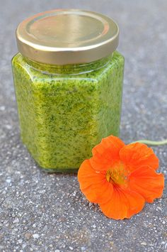 http://livesuperfoods.com/live-superfoods-organic-extra-virgin-olive-oil.html Nasturtium pesto. Leave the cheese out and you've got a yummy, vegan, unique pesto.