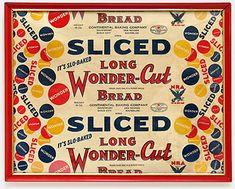 Vintage Wonder Bread label, kitchen collectibles, wonder-cut