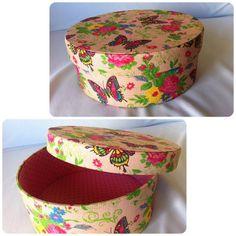 Caixa Redonda Borboleta Rosa  www.munayartes.com