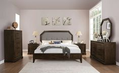 Acme Furniture Selma Collection 6 PC Bedroom Set with California King Size Bed, Dresser, Mirror, Chest and 2 Nightstands in Tobacco Finish Queen Bedroom, Queen Bedding Sets, Bedroom Sets, Bedroom Colors, Master Bedroom, Acme Furniture, Bedroom Furniture, Wooden Bedroom, Bedroom Decor