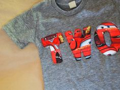 Cars the Movie Lightning McQueen Birthday Tee Boys Birthday Shirt organic blend. $25.00, via Etsy.