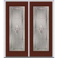 Milliken Millwork 66 in. x 81.75 in. Master Nouveau Decorative Glass Full Lite Painted Majestic Steel Exterior Double Door, Redwood