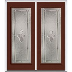 Milliken Millwork 74 in. x 81.75 in. Master Nouveau Decorative Glass Full Lite Painted Majestic Steel Exterior Double Door, Redwood
