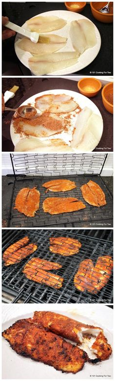 Grilled Blackened Tilapia - nice and easy blackened recipe. The brown sugar adds a hint of sweetness. I tried on salmon too and did not like as much as with the tilapia.