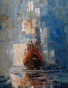 Le peintre polonais Justyna Kopania crée ces paysages marins habités par des bateaux qui semble détaillés en quelques coups de couteau à peinture qui forment des aplats.