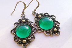 Christmas Gift Brass Earrings Green River Green by SevenDiamonds