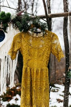 Cozy Alternative Fall Wedding Inspiration in Snowy Vermont Mustard midi wedding dress designed by For Love and Lemons Alternative Bridesmaid Dresses, Mustard Bridesmaid Dresses, Designer Wedding Dresses, Wedding Gowns, Lace Wedding, Mustard Yellow Wedding, Yellow Wedding Dress, Wedding Reception Outfit, Boho Wedding Guest Outfit
