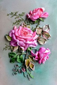 Wonderful Ribbon Embroidery Flowers by Hand Ideas. Enchanting Ribbon Embroidery Flowers by Hand Ideas. Types Of Embroidery, Rose Embroidery, Embroidery Needles, Embroidery Patterns, Machine Embroidery, Ribbon Art, Diy Ribbon, Ribbon Crafts, Ribbon Flower