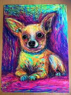 """Large 12""""x16"""" Signed and numbered giclée art print of my original painting of an adorable #chihuahua.This will be a strictly limited print run of 25. Professional giclée art print on..."""