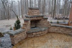 This outdoor stone fireplace and patio add to the natural beauty of the surround. This outdoor sto Outdoor Stone Fireplaces, Outside Fireplace, Outdoor Fireplace Designs, Backyard Fireplace, Fire Pit Backyard, Fireplace Outdoor, Fireplace Mantles, Backyard Patio Designs, Backyard Landscaping