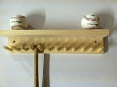 Baseball Bat Rack and Ball Holder Display Natural Finish Meant to Hold up to 11 Mini Collectible Bats and 4 Baseballs Baseball Shelf, Baseball Bat Display, Baseball Bats, Boy Room, Kids Room, Wood Projects, Woodworking Projects, Man Cave Items, Home Crafts
