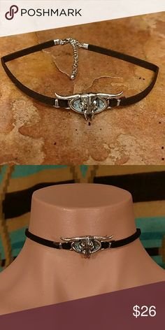 """Longorn Skull Choker Very cool steer skull choker faux turquoise behind the skull, deep brown faux suede strap. Can be worn from 12"""" to 16"""". Bohol, Bohemian, Western, Cowgirl, Southwest, Gypsy Hippie boutique Jewelry Necklaces"""